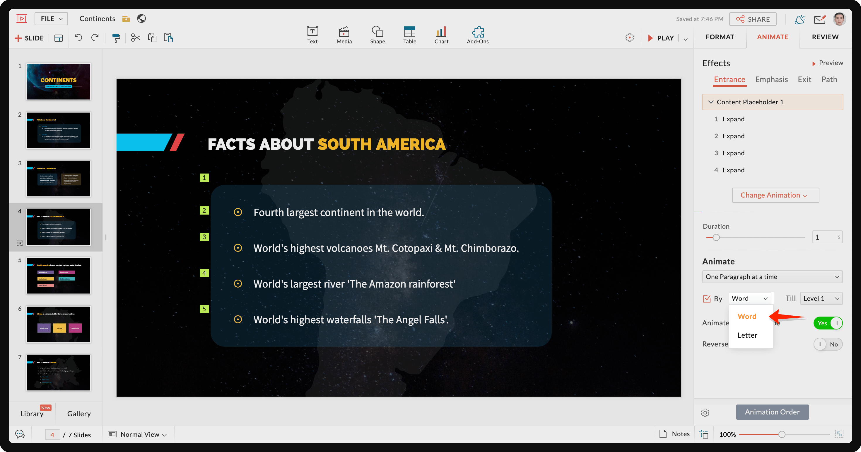 Animate text by word